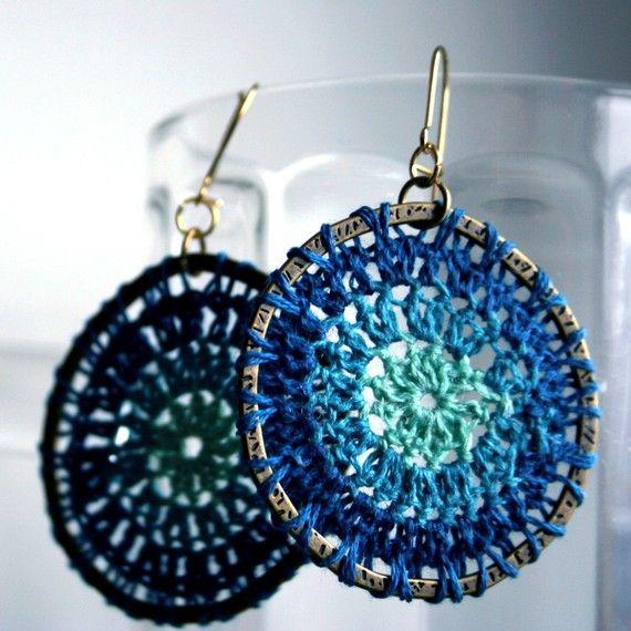 Boho chic circular crochet earrings by dilettant