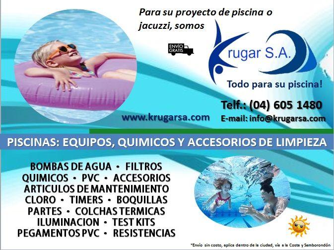 En Krugar S.A. tenemos el mayor surtido de productos de piscinas y jacuzzis: equipos, bombas de agua, filtros, clorinadores, accesorios de limpieza: cernideras, aspiradoras, mangos telescopicos, satelites, etc, químicos: cloro granulado, en pastillas, ácido nitrico, sulfato, entre otros...  Para mayor informe, llámanos al 04 6051480 ó vía email: info@krugarsa.com  #piscinas #ecuador #guayaquil #vialacosta #viasamborondon
