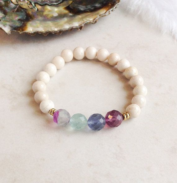 Calming Energies Riverstone Bracelet Fluorite by InnerFireJewelry