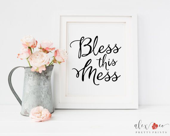 Bless This Mess Printable. Kitchen Prints. by alexandcoprintables