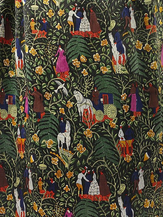 "The Metropolitan Museum of Art - ""Bois de Boulogne"" Paul Poiret  (French, Paris 1879–1944 Paris)  Designer: Textile by Raoul Dufy (French, Le Havre 1877–1953 Forcalquier) Manufacturer: Textile by Bianchini-Férier (French, founded Lyons, 1888) Date: 1919 Culture: French Medium: a–c) silk. Detail"