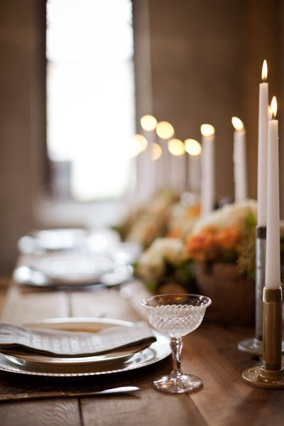 love the dessert/compote dish.  Pretty wood table lined with candles