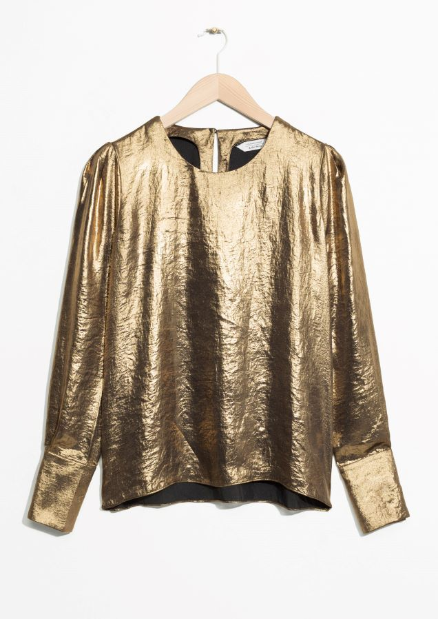 & Other Stories image 1 of Metallic Satin Blouse  in Gold