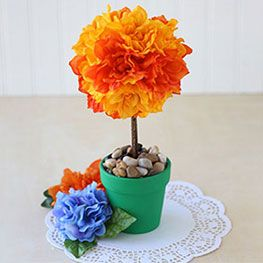 Floral topiary using tissue paper with step by step instructions from Dollar Tree