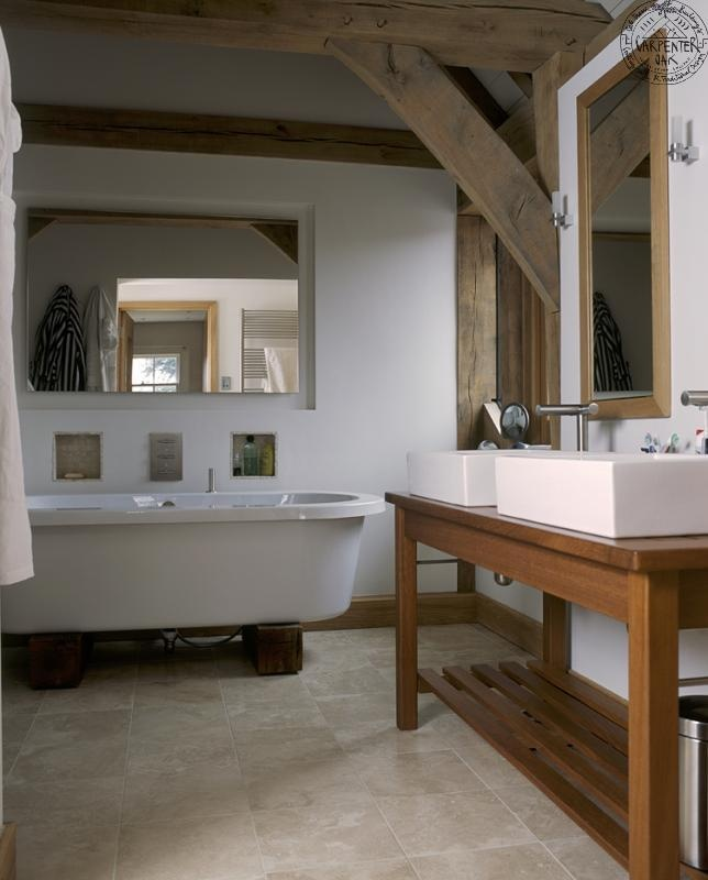 Contemporary Stand Alone Bath And Twin Sink Washstand In Oak Frame  Bathroom, By Roderick