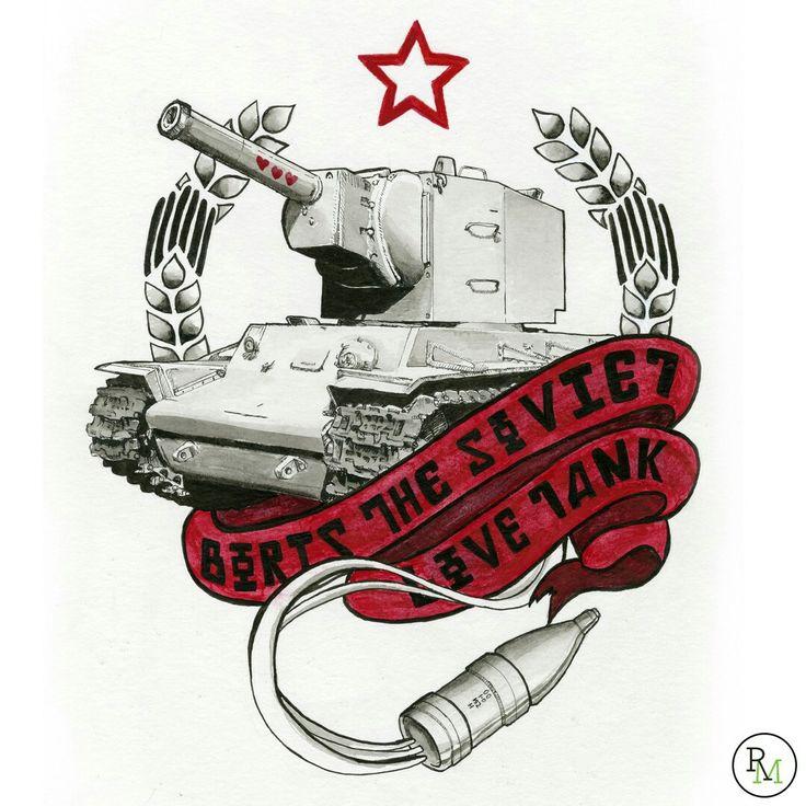 Boris the Soviet Love Tank tattoo design illustration (c) Rebecca Miller Illustration.  Tank tattoo, soviet tattoo, world of tanks, wot, russian tattoo, russian tank tattoo, tattoo, tattoo design