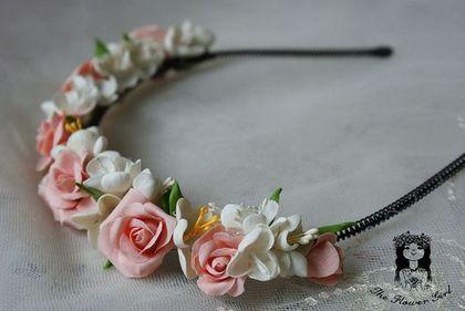 """Ободок """" Romance new style"""" - ободок,ободок с цветами,розы,фрезии,Холодный фарфор"""