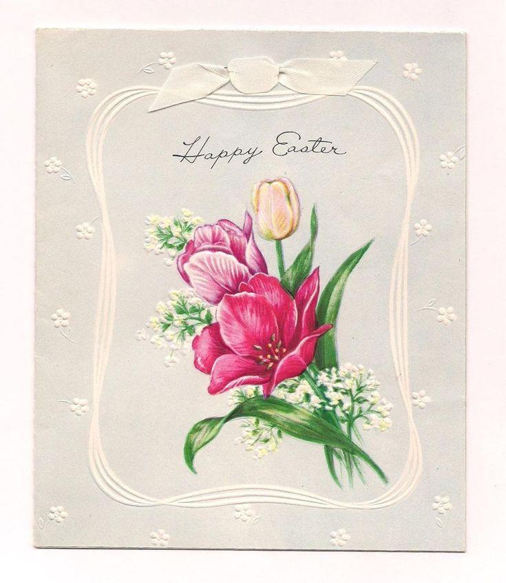 OLD VINTAGE 1952 EASTER GREETING CARD FLOWERS & RIBBON w/ EUREKA POSTAL COVER
