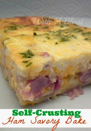 Self-Crusting Ham Savory Bake ~ great for leftover ham #SavoryPie #Breakfast #LeftoverHam