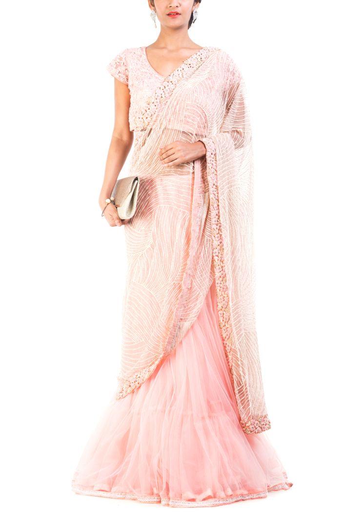 Carnation Pink Embroidred Lehenga Saree | Lehenga Saree Online -smritiapparels.com