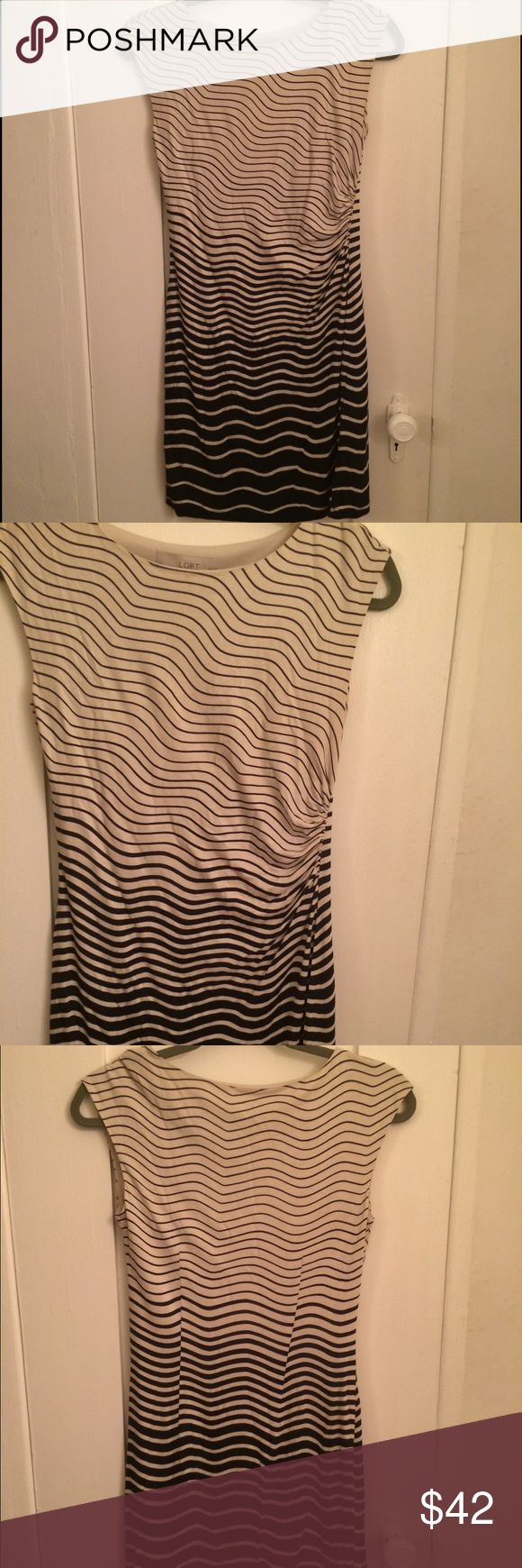 Loft Blue and White Petite XS Dress NWOT very soft and stretchy, fully lined LOFT Dresses Mini