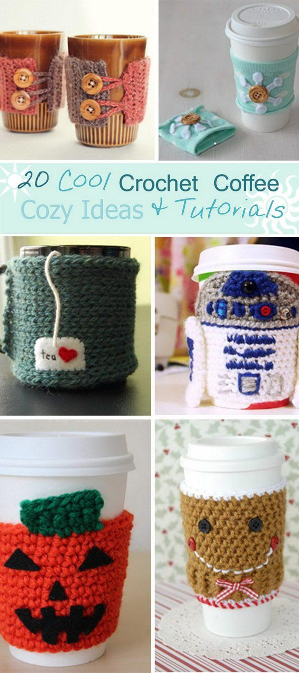 20 Cool Crochet Coffee Cozy Ideas & Tutorials