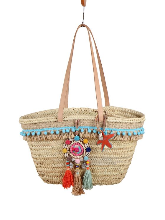 Cesto playa bohochic con medallón tribal multicolor .Puedes completar kit de playa completo con toalla, vestido, sombrero a juego con la misma tela.