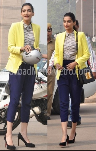 Sonam Kapoor at Helmet Awareness Campaign in Delhi. Bright blazer, cute top & cropped pants = perfectly chic.