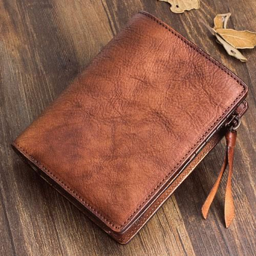 Photo of Handmade Mens Cool Short Leather Wallet Men Small Zipper Wallets Bifold for Men