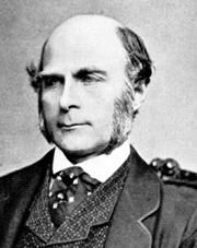 Sir Francis Galton Biostatistician, human geneticist and eugenicist. Born at The Larches, Sparkbrook, Birmingham, a half-cousin of Charles Darwin. An enthusiastic traveller, particularly in Africa. Darwin's publication of 'The Origin of Species' caused him to become immersed in the study of heredity. He invented the term 'eugenics' (the science of creating superior offspring), and refined the system of identifying fingerprints. Knighted in 1909