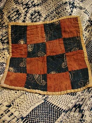"Antique hand stitched calico dolls quilt circa 1800s, 8 1/2 x 8"", eBay, bgrboots"
