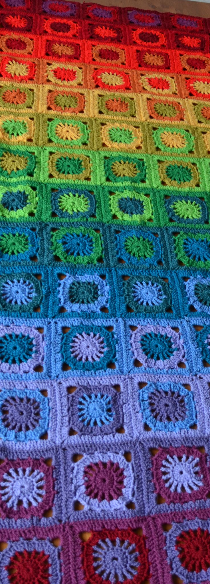 CAL Rainbow Blanket pattern out of granny squares