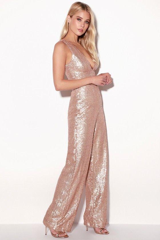 c9405c2024cd Everlasting Glam Matte Rose Gold Sequin Jumpsuit in 2019