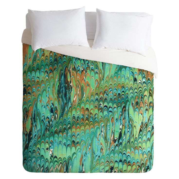 Amy Sia Marble Wave Sea Green Duvet Cover by DENY Designs - 63036-DLIKIN