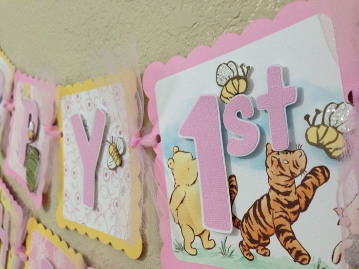 Winnie the Pooh Birthday Banner Girl Classic pink yellow party decorations by CelebrationBanner on Etsy https://www.etsy.com/listing/175150063/winnie-the-pooh-birthday-banner-girl