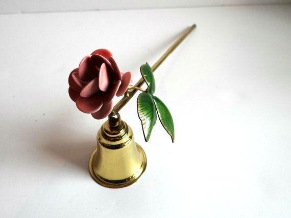 Vintage Brass Candle Snuffer with Pink Flower by TimelessTreasuresbyM on Etsy