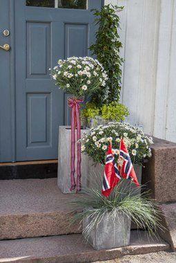 Pynt bomsterpottene med norske flagg og nasjonalbånd.