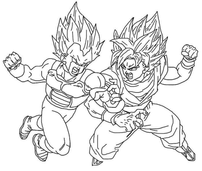 Goku Vs Vegeta Coloring Pages In 2020 Cartoon Coloring Pages Goku Vs Super Coloring Pages