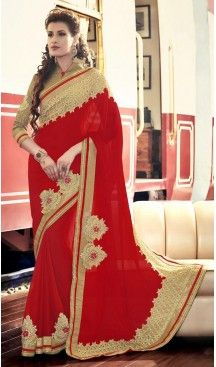 Georgette Fabric Red Color Embroidered Party Wear Saris   FH512778053  #party , #wear, #saree, #saris, #indian, #festive, #fashion, #online, #shopping, #designer, #usa, #henna, #boutique, #heenastyle, #style, #traditional, #wedding, #bridel, #casual, @heenastyle , #blouse, #prestiched, #readymade, #stitched , #Georgette , #embroidery