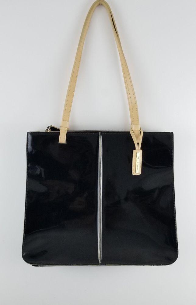 Guess Black Patent Leather Shoulder Strap Tote Handbag Size 10 H X 12 L 3 5 D