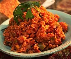red rice - Kenny and I love our stewed tomatoes over rice, so why not put the tomato flavor into the rice when you're cooking it.