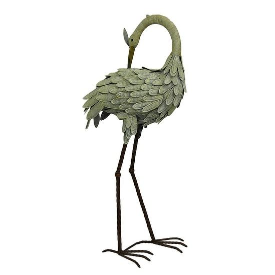 Preening Crane Decorative Weathered Finish Metal Indoor/Outdoor Statue 30 Inch - Grey