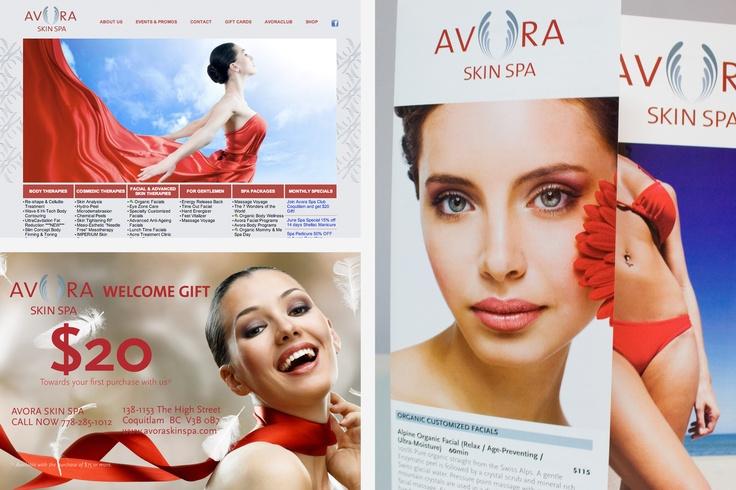 Avora Skin Spa  Logo design, brochures, promotion, website design