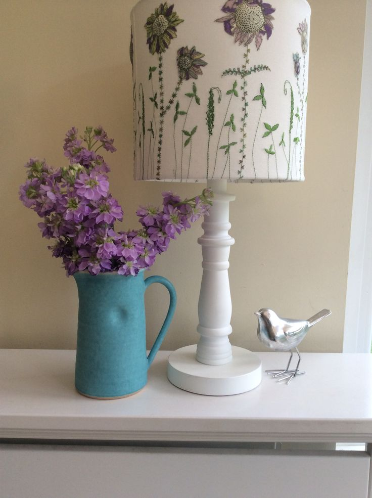 Machine embroidered and appliqued handrolled lampshade by Bev Holmes-Wright, www.stitchingforthesoul.co.uk