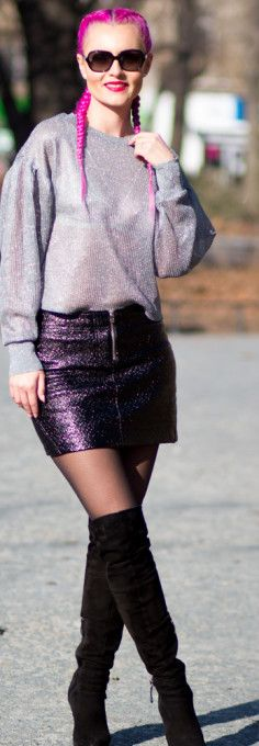 Casual Friday outfit, black skirt, miniskirt, mini skirt, silver jumper, grey jumper, french braids, dutch braids, hairstyle, sunglasses, guess shoes, winter shoes, high heels.