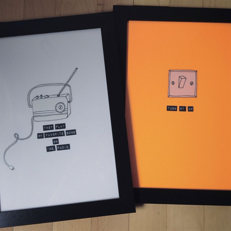 Posters made with dymo and wallstickers