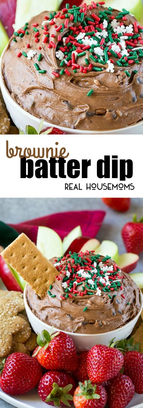 This 5-minute Brownie Batter Dip is loaded with chocolate and is the perfect addition to any holiday dessert table! via @realhousemoms
