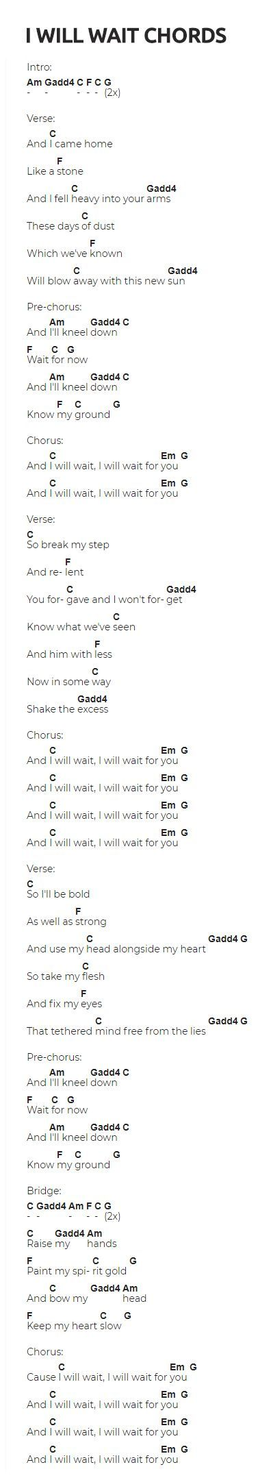 I Will Wait Guitar Chords by Mumford and Sons. Visit the website for the video lesson. The chords are very easy to play! #music #guitar #guitarlessons #songs #chords #guitarlessonssongs