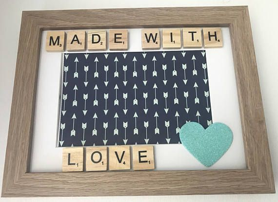 Made With Love Scrabble Frame. Perfect baby scan or new born arrival.