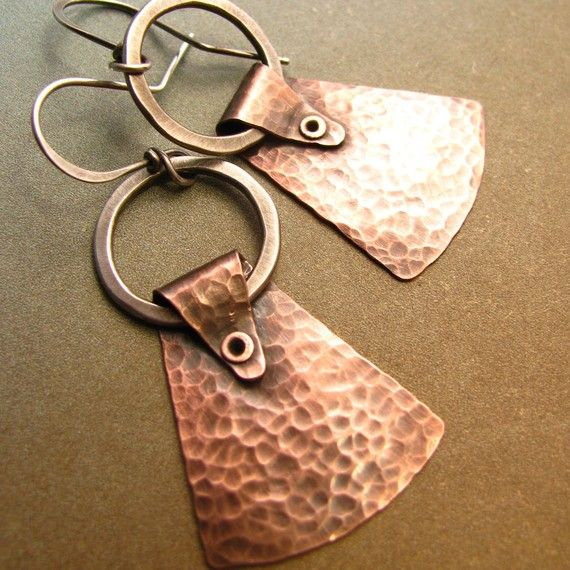 Mixed Metal Jewelry - Sterling Silver And Copper Earrings - Riveted Earrings $40.00 by suntribedesigns on Etsy