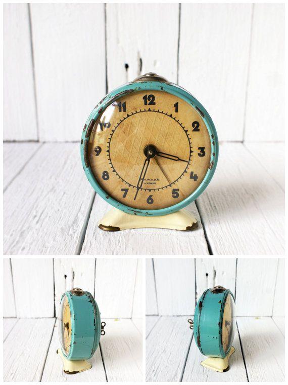 Aqua Blue Shabby Chic Soviet Vintage alarm clock by SmetanaVintage