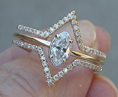 Marquise Cut Diamond 3 Band Halo Ring - 14K Unique Custom Setting VS2/J