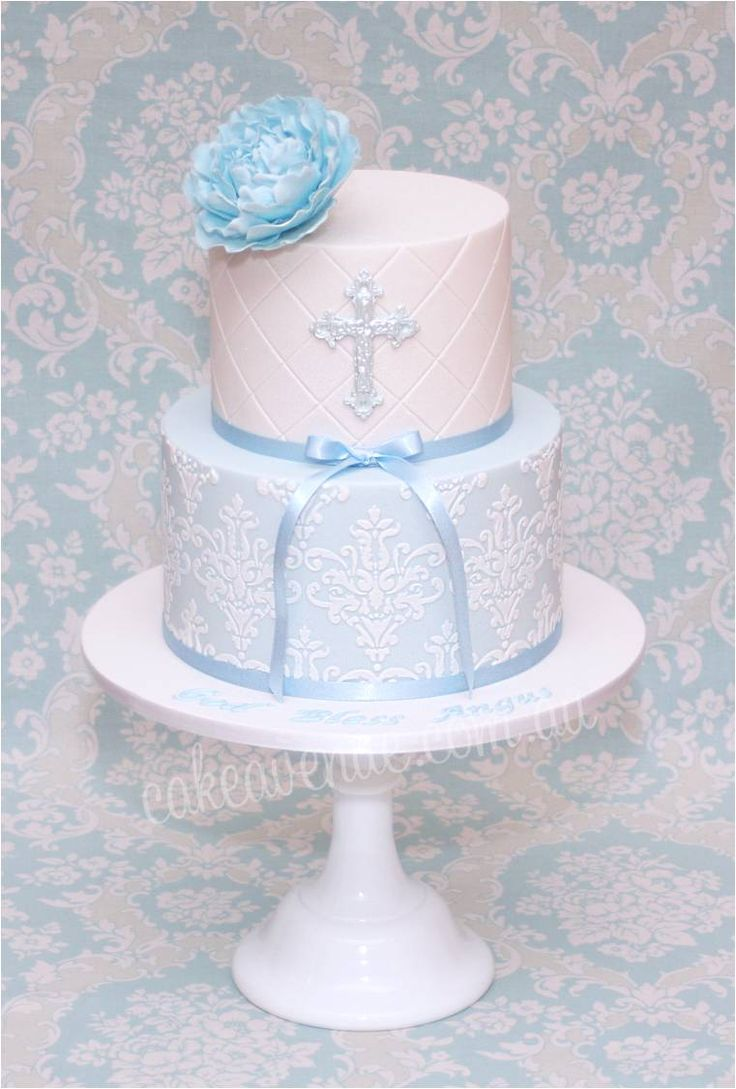 Elegant Blue Peony Christening Cake