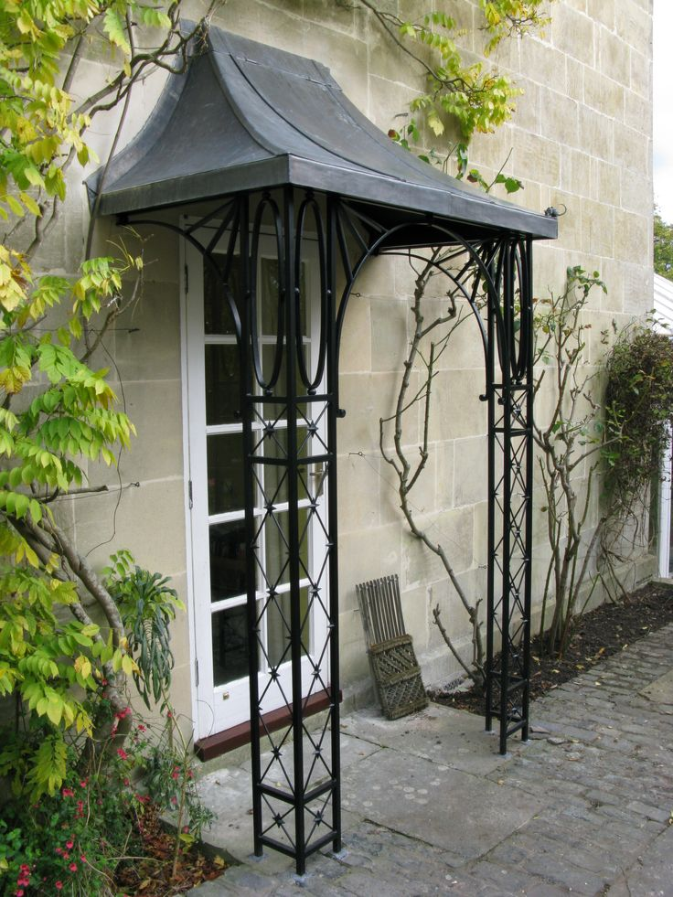 Lead and wrought iron porch on Hamilton Road, Lansdown, Bath