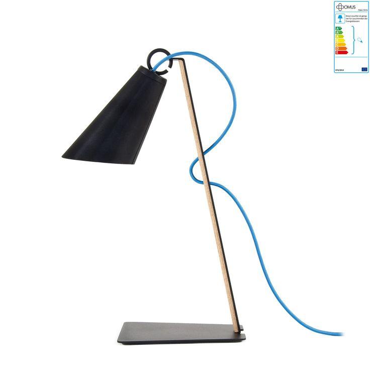 Domus - Licht zum Wohnen GmbH Domus - Pit Tischleuchte, Eiche geölt, Schirm aus Metall schwarz, Kabel blau Jetzt bestellen unter: https://moebel.ladendirekt.de/lampen/tischleuchten/beistelltischlampen/?uid=f7d019e4-3cbf-506e-917e-9abec5c11791&utm_source=pinterest&utm_medium=pin&utm_campaign=boards #lampen #tischleuchten #beistelltischlampen