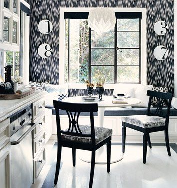 love this black and white kitchen/dining room. I thought the choice of chairs to go with the odessy table was weird at first, but the more i looked at it, the more I liked it.