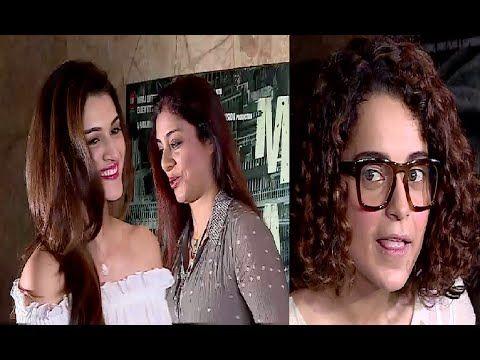 Salman Khan's reel sister Tabu, Kriti Sanon & Kangana Ranaut at the screening of MADAARI movie.