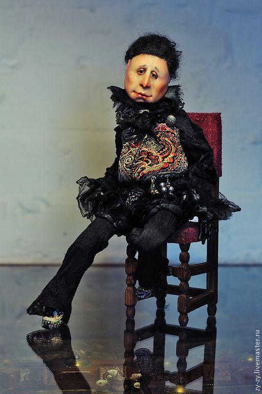 """Купить """"Черная курица""""или """"Чернушка """" фарфоровая шарнирная кукла - черный, шарнирная кукла, мужчина"""
