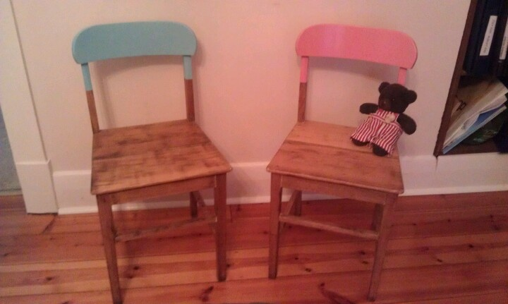 $5 chairs from the dump, stripped back, colour dipped and finished in matt clear. So crafty!