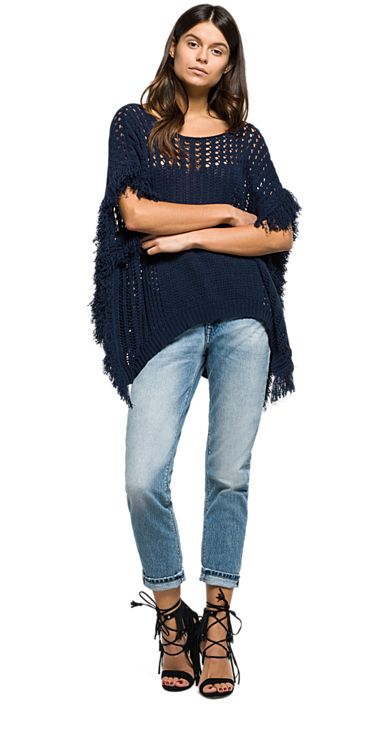 Long cotton jumper with fringes